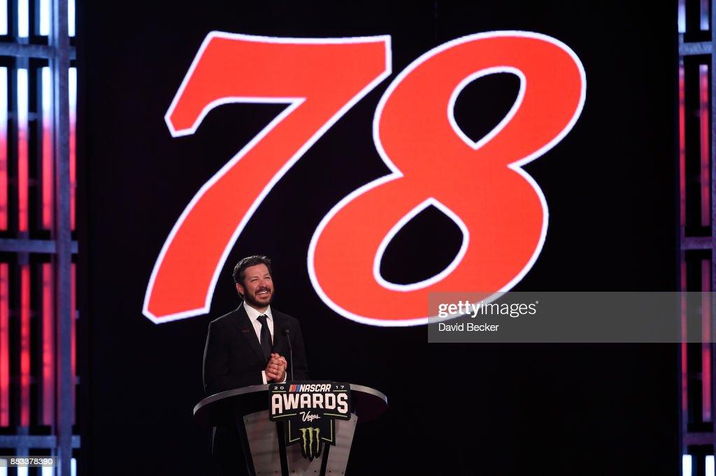 Monster Energy NASCAR Cup Series Champion Martin Truex Jr. attends the Monster Energy NASCAR Cup Series awards at Wynn Las Vegas on November 30, 2017 in Las Vegas, Nevada.
