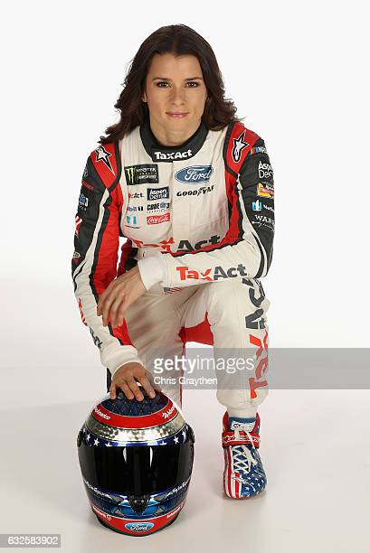 Monster Energy NASCAR Cup Series driver Danica Patrick poses for a photo during the 2017 Media Tour at the Charlotte Convention Center on January 24...