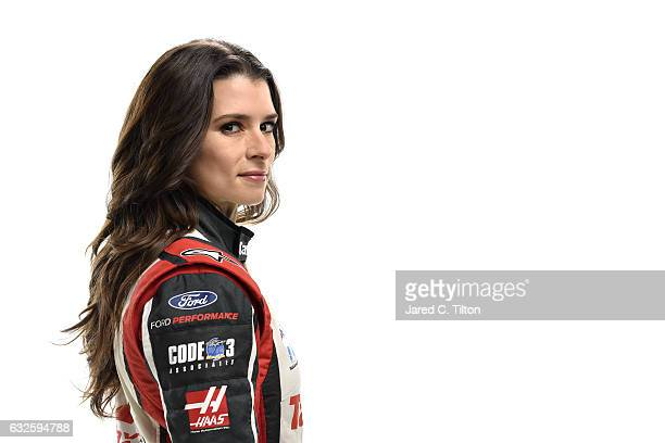 Monster Energy NASCAR Cup Series driver Danica Patrick poses for a photo during the NASCAR 2017 Media Tour at the Charlotte Convention Center on...