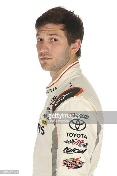 Monster Energy NASCAR Cup Series driver Daniel Suarez poses for a photo during the 2017 Media Tour at the Charlotte Convention Center on January 25...
