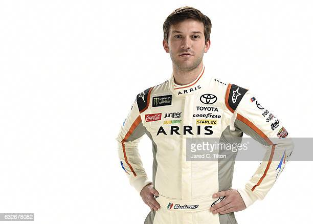 Monster Energy NASCAR Cup Series driver Daniel Suarez poses for a photo during the NASCAR 2017 Media Tour at the Charlotte Convention Center on...