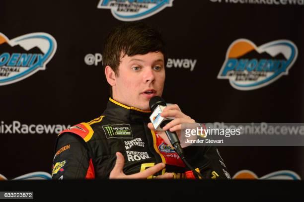 Monster Energy NASCAR Cup Series driver Erik Jones addresses the media during NASCAR testing at Phoenix International Raceway on January 31 2017 in...