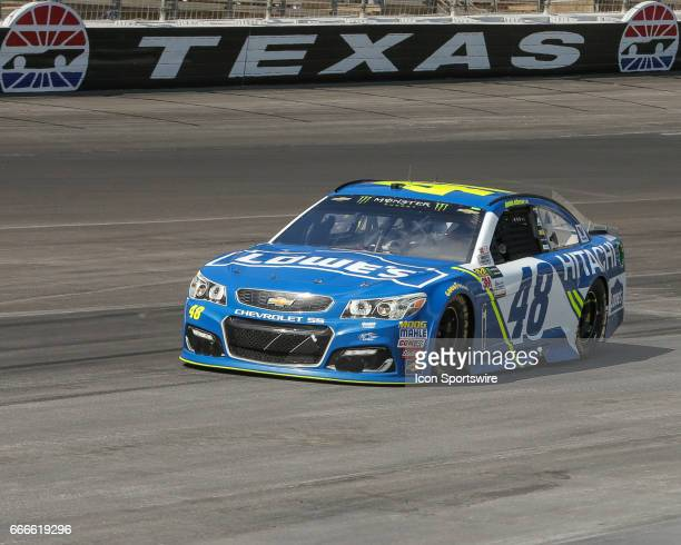 Monster Energy NASCAR Cup Series driver Jimmie Johnson drives in turn 4 during the Monster Energy NASCAR Cup Series O'Reilly Auto Parts 500 race on...