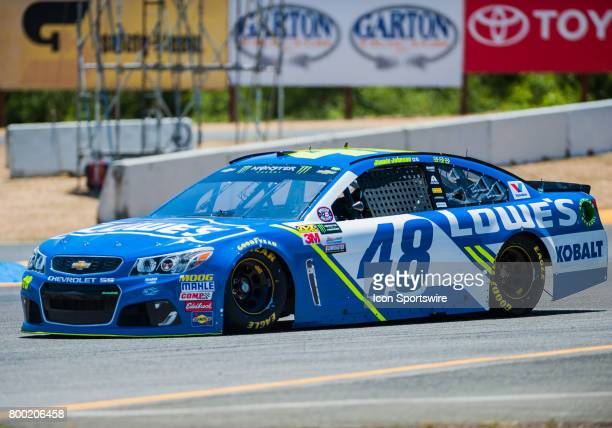 Monster Energy NASCAR Cup Series driver Jimmie Johnson goes towards turn 7 during practice at the NASCAR Monster Energy Cup Series Toyota/Save Mart...