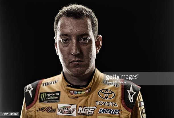 Monster Energy NASCAR Cup Series driver Kyle Busch poses for a photo during the NASCAR 2017 Media Tour at the Charlotte Convention Center on January...