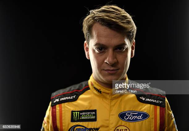 Monster Energy NASCAR Cup Series driver Landon Cassill poses for a photo during the NASCAR 2017 Media Tour at the Charlotte Convention Center on...