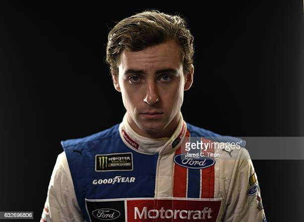 Monster Energy NASCAR Cup Series driver Ryan Blaney poses for a photo during the NASCAR 2017 Media Tour at the Charlotte Convention Center on January...
