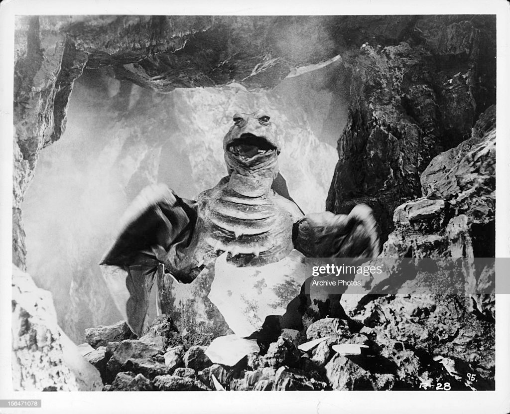 Monster moving into cave in a scene from the film 'Rodan' 1956