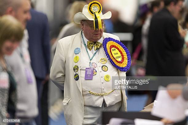 Monster Raving Loony Party candidate for Uxbridge and Ruislip South Howling Laud Hope waits in the counting centre in Uxbridge west London on May 7...