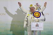 Monster Raving Loony Party candidate for Uxbridge and Ruislip South Howling Laud Hope milks the applause on stage in Uxbridge west London on May 8...