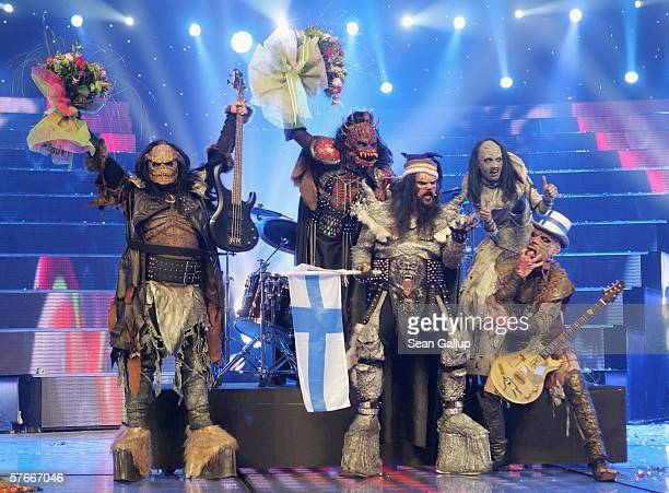 Monster rock band Lordi of Finland celebrate their victury at conclusion of the finals of the 2006 Eurovision Song Contest May 20 2006 in Athens...