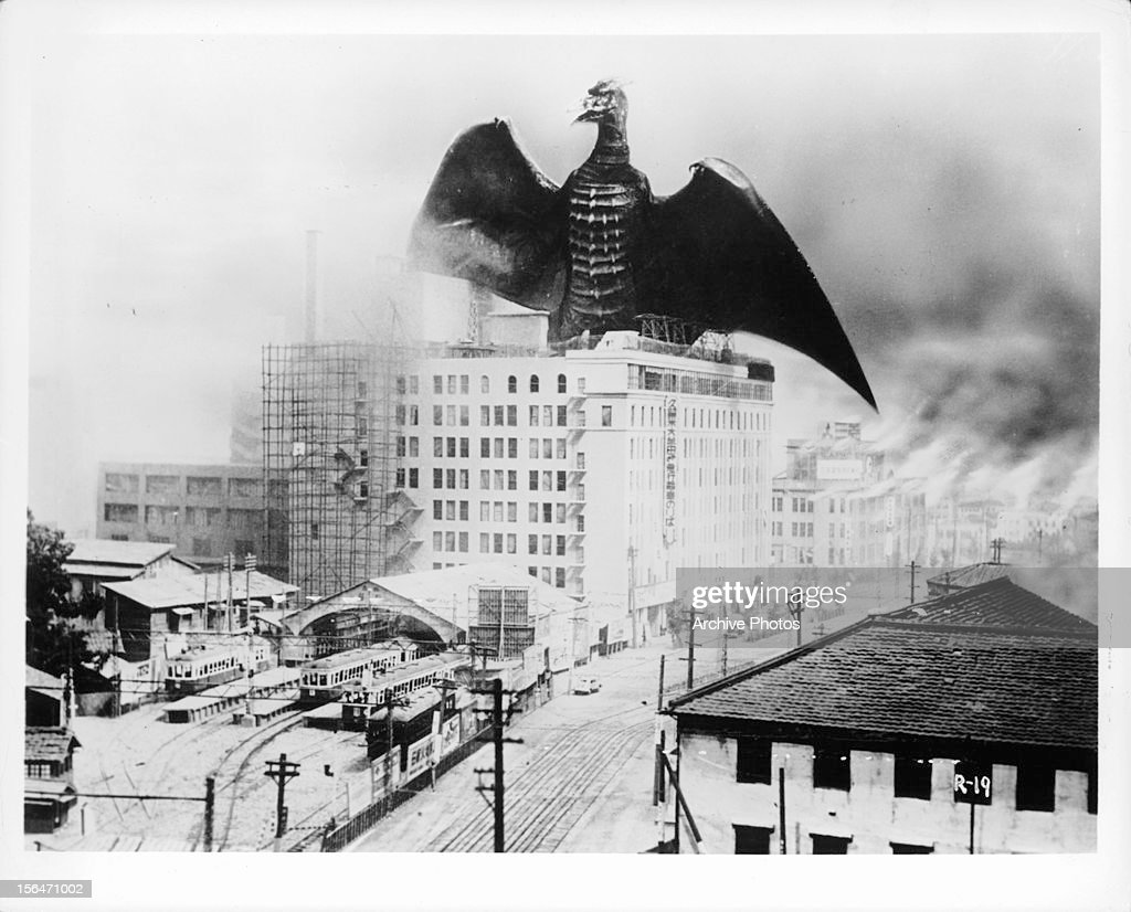 Monster takes city in a scene from the film 'Rodan' 1956