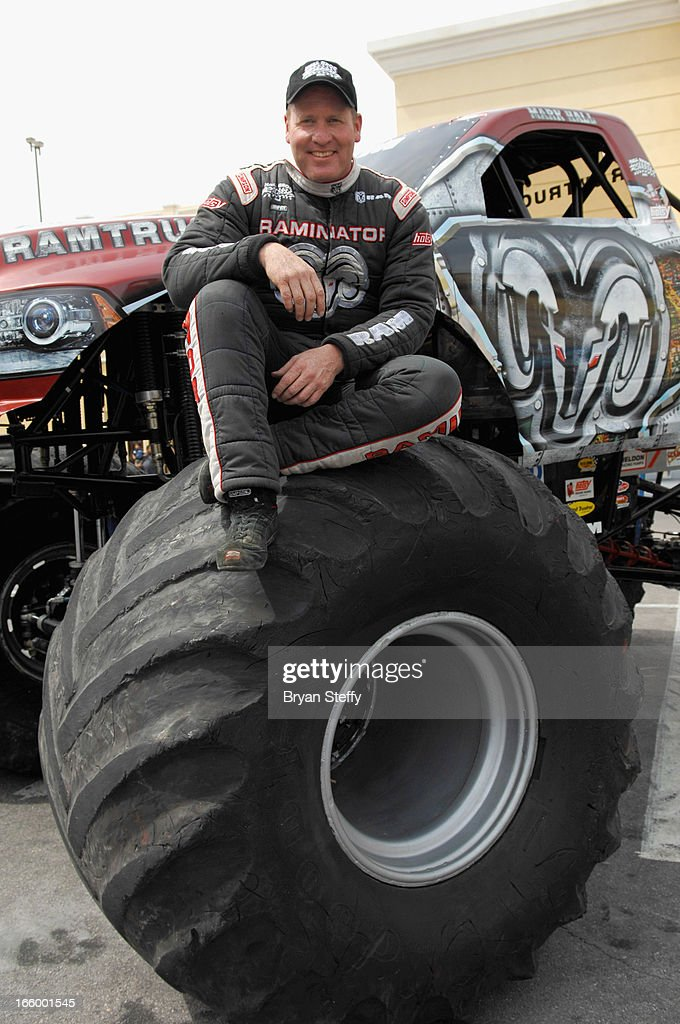 Monster truck driver Mark Hall appears with the 'Raminator' for onlookers during the 48th Annual Academy Of Country Music Awards Experience at the Orleans Arena on April 7, 2013 in Las Vegas, Nevada.