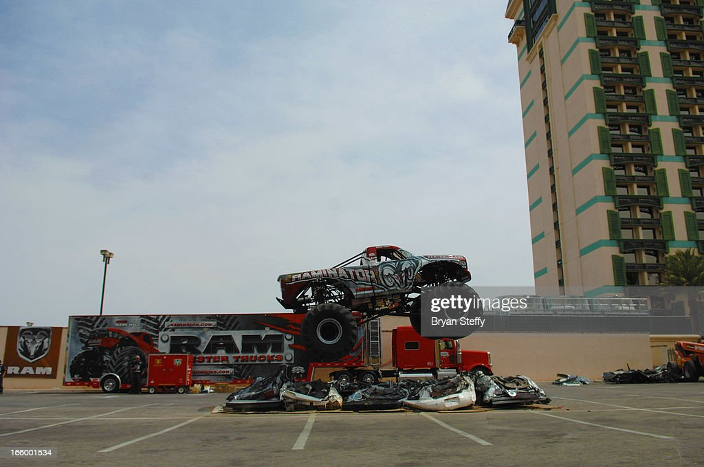 Monster truck driver Mark Hall drives the 'Raminator' for onlookers during the 48th Annual Academy Of Country Music Awards Experience at the Orleans Arena on April 7, 2013 in Las Vegas, Nevada.