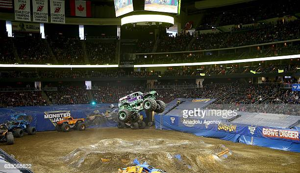 A monster truck performs during Monster Jam Show at Prudential Center in New Jersey in United States on January 30 2017