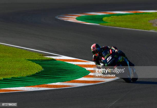 Monster Yamaha Tech 3 French rider Johann Zarco takes a curve during the third MotoGP free practice session of the Valencia Grand Prix at Ricardo...