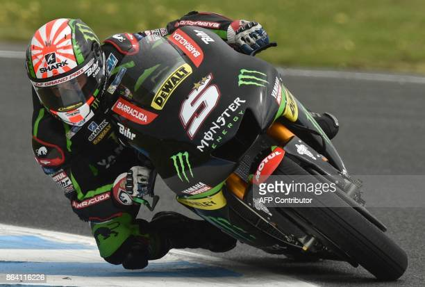 Monster Yamaha Tech 3 rider Johann Zarco of France rides in the third practice session of the Australian MotoGP Grand Prix at Phillip Island on...
