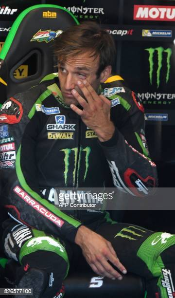 Monster Yamaha Tech 3 Team's French rider Johann Zarco rests in a paddock during a free practice session of the Moto GP Grand Prix of the Czech...