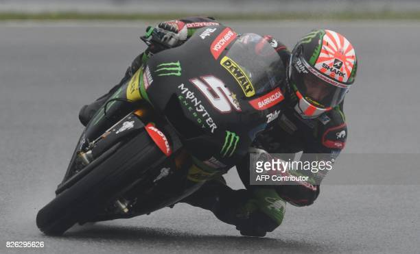 Monster Yamaha Tech 3 Team's French rider Johann Zarco speeds his Yamaha during a free practice session of the Moto GP Czech Grand Prix in Brno Czech...