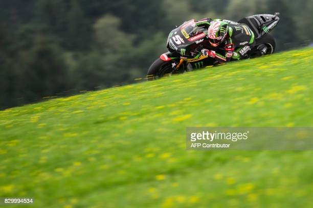 Monster Yamaha Tech 3's French rider Johann Zarco competes during the first practice session of the MotoGP Austrian Grand Prix weekend at the Red...