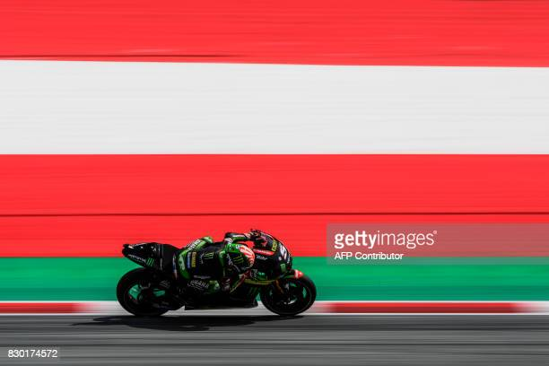 Monster Yamaha Tech 3's French rider Johann Zarco competes during the second practice session of the MotoGP Austrian Grand Prix weekend at Red Bull...