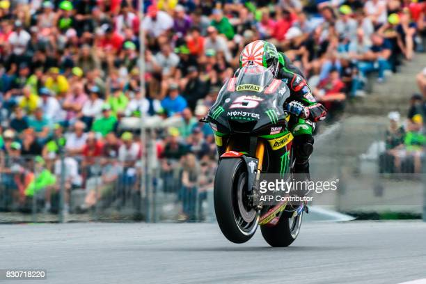 Monster Yamaha Tech 3's French rider Johann Zarco competes during the qualifying session of the MotoGP Austrian Grand Prix weekend at Red Bull Ring...