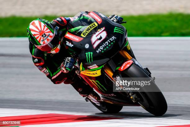 Monster Yamaha Tech 3's French rider Johann Zarco competes during the fourth practice session of the MotoGP Austrian Grand Prix weekend at Red Bull...