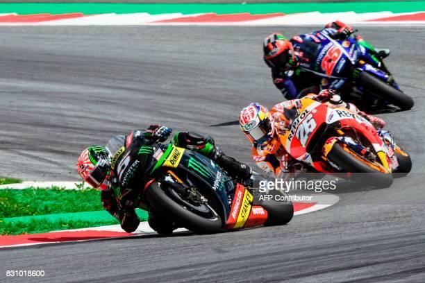 Monster Yamaha Tech 3's French rider Johann Zarco Repsol Honda Team's Spanish rider Dani Pedrosa and Movistar Yamaha MotoGP's Italian rider Valentino...