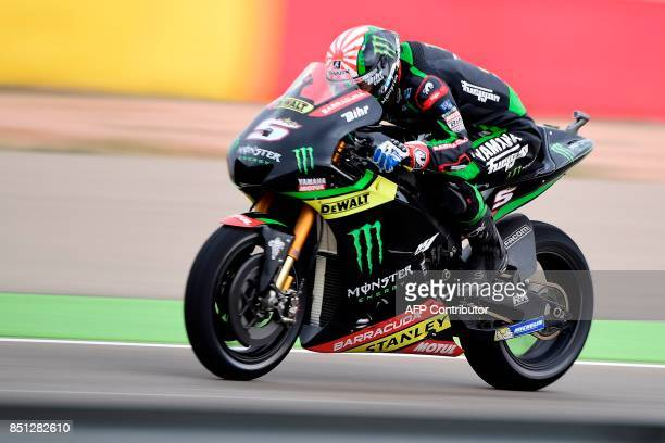 Monster Yamaha Tech 3's French rider Johann Zarco rides during the Moto GP first free practice during the Moto Grand Prix of Aragon at the Motorland...