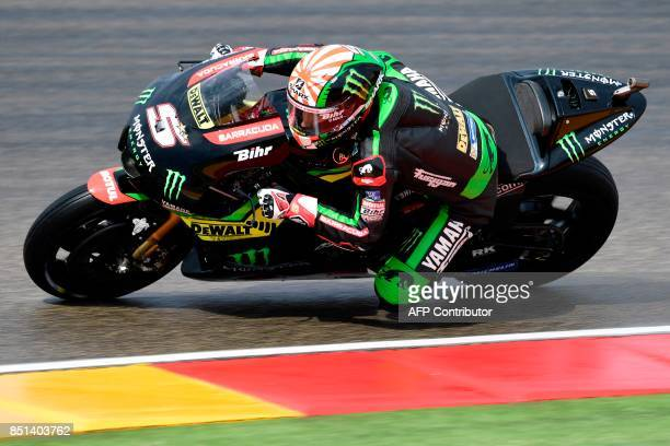 Monster Yamaha Tech 3's French rider Johann Zarco rides during the Moto GP second free pratice of the Moto Grand Prix of Aragon at the Motorland...