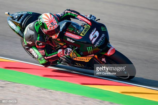 Monster Yamaha Tech 3's French rider Johann Zarco rides during the Moto GP third free pratice of the Moto Grand Prix of Aragon at the Motorland...