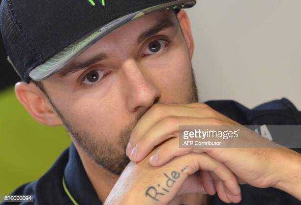 Monster Yamaha Tech 3's German rider Jonas Folger attends a press conference prior to the Moto GP Czech Grand Prix race in Brno Czech Republic on...