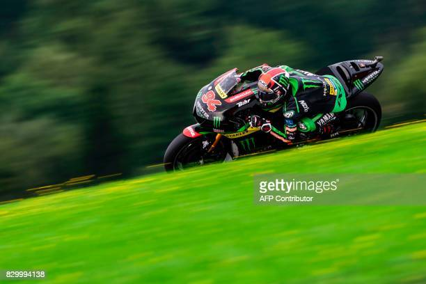 Monster Yamaha Tech 3's German rider Jonas Folger competes during the first practice session of the MotoGP Austrian Grand Prix weekend at the Red...