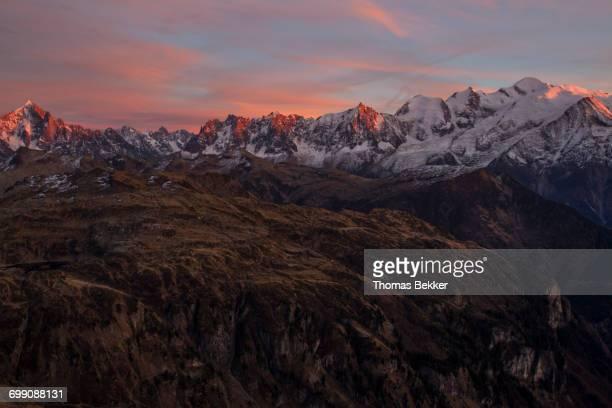 Mont Blanc range at sunset captured during a beautiful fall bivouac