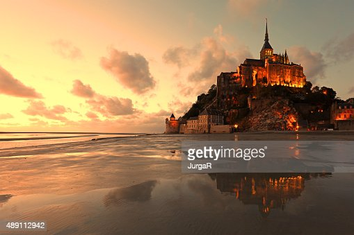 Mont Saint Michel Reflections at Sunset