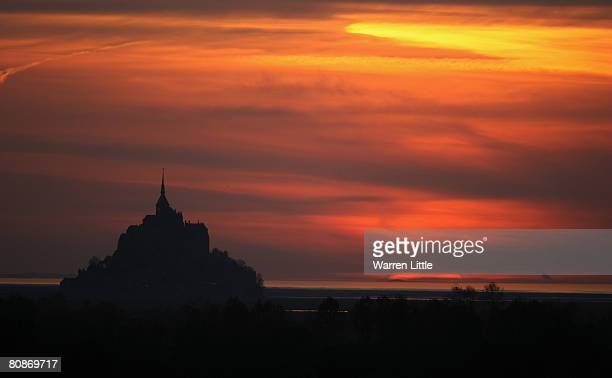 Mont St Michel pictured at sunset on April 25 2008 in St Michel France