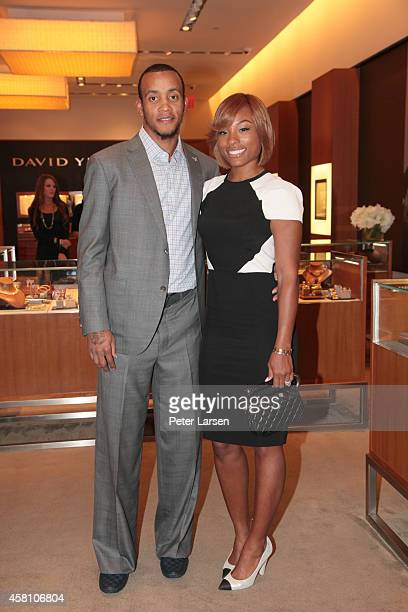 Monta Ellis and Juanika Ellis attend an instore event hosted by David Yurman with Monta Ellis and Juanika Ellis benefiting Susan G Komen October 29...