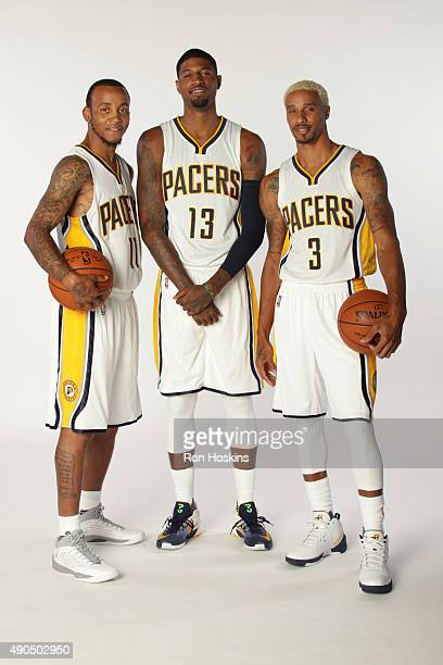 Monta Ellis George Hill and Paul George of the Indiana Pacers pose for a portrait during the Indiana Pacers media day at Bankers Life Fieldhouse on...