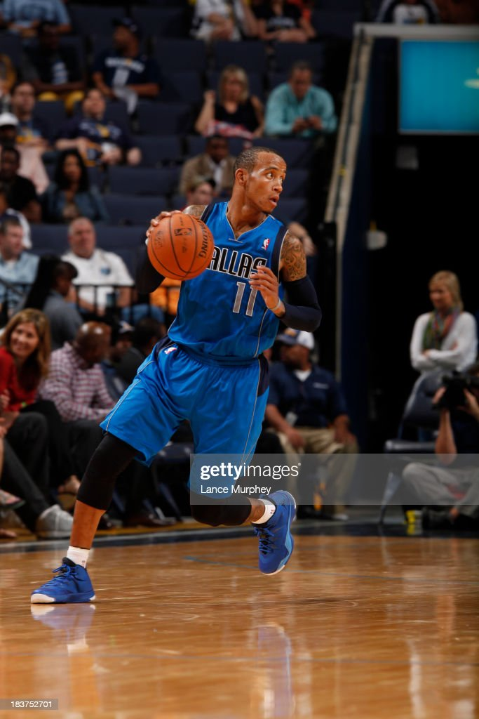 <a gi-track='captionPersonalityLinkClicked' href=/galleries/search?phrase=Monta+Ellis&family=editorial&specificpeople=567403 ng-click='$event.stopPropagation()'>Monta Ellis</a> #11 of the Dallas Mavericks controls the ball agasint the Memphis Grizzlies during a game on October 9, 2013 at FedExForum in Memphis, Tennessee.