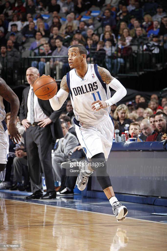 <a gi-track='captionPersonalityLinkClicked' href=/galleries/search?phrase=Monta+Ellis&family=editorial&specificpeople=567403 ng-click='$event.stopPropagation()'>Monta Ellis</a> #11 of the Dallas Mavericks dribbles the ball against the Utah Jazz on February 7, 2014 at the American Airlines Center in Dallas, Texas.