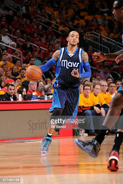 Monta Ellis of the Dallas Mavericks drives against the Houston Rockets in Game Five of the Western Conference Quarterfinals during the NBA Playoffs...