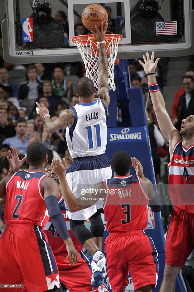 <a gi-track='captionPersonalityLinkClicked' href=/galleries/search?phrase=Monta+Ellis&family=editorial&specificpeople=567403 ng-click='$event.stopPropagation()'>Monta Ellis</a> #11 of the Dallas Mavericks drives to the basket against the Washington Wizards on November 12, 2013 at the American Airlines Center in Dallas, Texas.