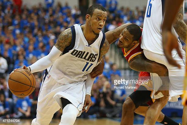Monta Ellis of the Dallas Mavericks during Game Three of the Western Conference quarterfinals of the 2015 NBA Playoffs at American Airlines Center on...