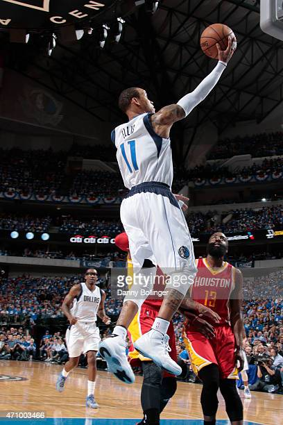 Monta Ellis of the Dallas Mavericks floats in for the layup against the Houston Rockets during Game Three of the Western Conference Quarterfinals of...