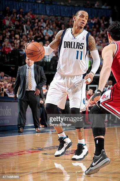 Monta Ellis of the Dallas Mavericks handles the ball against the Chicago Bulls on February 28 2014 at the American Airlines Center in Dallas Texas...
