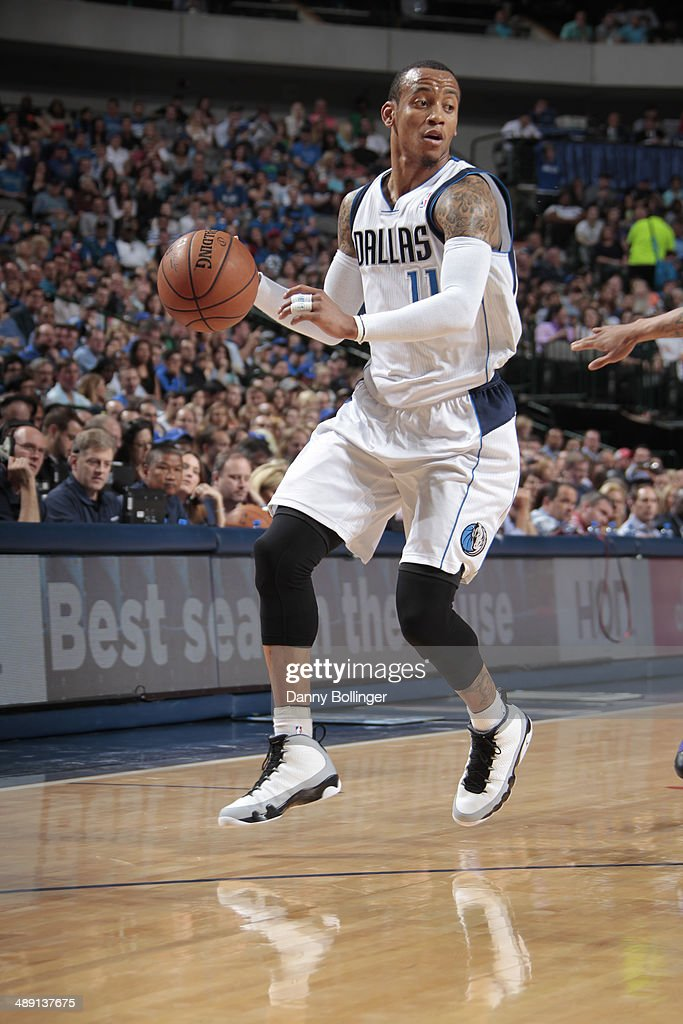 Monta Ellis #11 of the Dallas Mavericks handles the ball against the Phoenix Suns on April 12, 2014 at the American Airlines Center in Dallas, Texas.