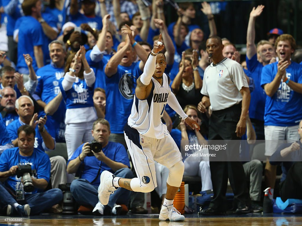 <a gi-track='captionPersonalityLinkClicked' href=/galleries/search?phrase=Monta+Ellis&family=editorial&specificpeople=567403 ng-click='$event.stopPropagation()'>Monta Ellis</a> #11 of the Dallas Mavericks reacts against the Houston Rockets during Game Three of the Western Conference quarterfinals of the 2015 NBA Playoffs at American Airlines Center on April 24, 2015 in Dallas, Texas.
