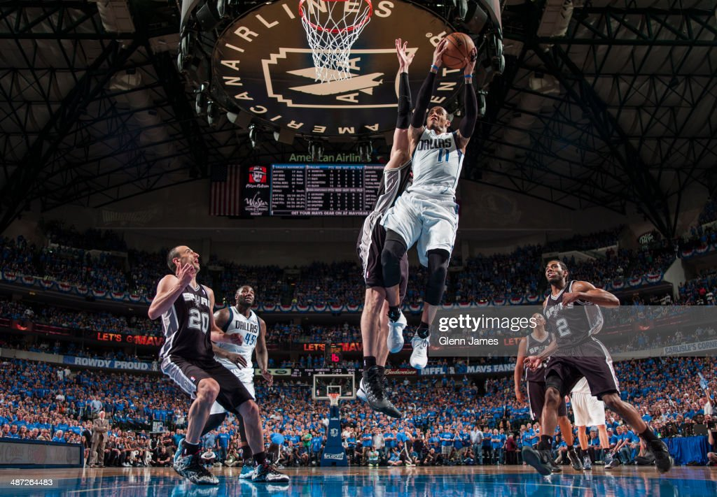 <a gi-track='captionPersonalityLinkClicked' href=/galleries/search?phrase=Monta+Ellis&family=editorial&specificpeople=567403 ng-click='$event.stopPropagation()'>Monta Ellis</a> #11 of the Dallas Mavericks shoots against the San Antonio Spurs in Game Four of the Western Conference Quarterfinals during the 2014 NBA Playoffs on April 28, 2014 at the American Airlines Center in Dallas, Texas.
