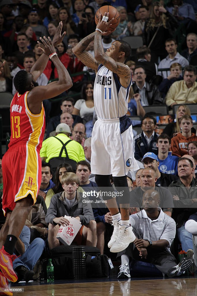 <a gi-track='captionPersonalityLinkClicked' href=/galleries/search?phrase=Monta+Ellis&family=editorial&specificpeople=567403 ng-click='$event.stopPropagation()'>Monta Ellis</a> #11 of the Dallas Mavericks shoots the ball against the Houston Rockets on November 20, 2013 at the American Airlines Center in Dallas, Texas.