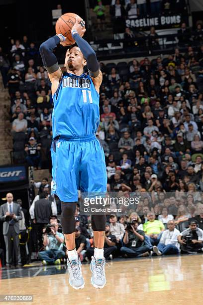 Monta Ellis of the Dallas Mavericks takes a shot during a game against the San Antonio Spurs at the ATT Center on March 2 2014 in San Antonio Texas...